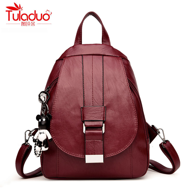 High Quality PU Leather Women Backpacks Cartoon Bear School Backpack For Teenager Girl Fashion Multifunction Women Rucksack 2018