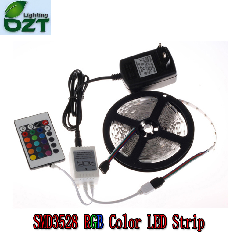 RGB LED Strip 5M 300Led 3528 SMD 24Key IR Fjernkontroll 12V 2A Strømadapter Fleksibel Light Led Tape Home Decoration Lampe