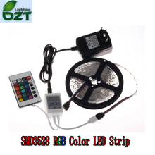 цена на RGB LED Strip 5M 300Led 3528 SMD + 24Key IR Remote Controller+12V 2A Power Adapter Flexible Light Led Tape Home Decoration Lamps