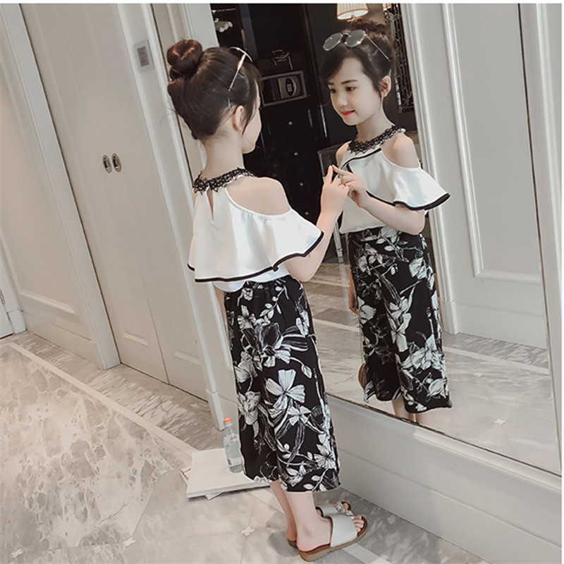 2018 Summer Girls Set Clothes Children's Clothing Sets Fashion Baby Girl Shirt White Top+Flowers Shorts Kids Suits 2pcs For 4-9Y sodawn baby girls clothes set summer style sets flower t shirt denim shorts 2pcs casual girls suits kids clothing sets