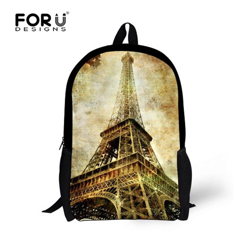 FORUDESIGNS Vintage Paris Eiffel Tower Printing Backpack Children School Bags for Teenagers Girls Women Travel Backpacks Mochila