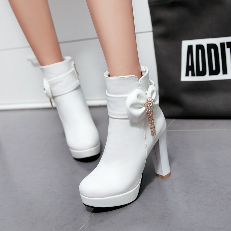 11_2016 Autumn Korean Womens Pink Dress Booties Shoes Princess Bow High Heels Black And White Platform Ankle Boots For Winter