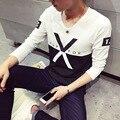 Nueva Llegada 2017 T Shirt Hombre Camiseta de Algodón Hombre de La Manga Completa camisa Con Cuello En V Estilo de Empalme Camiseta Tapas de La Manera de Los Hombres De Negro