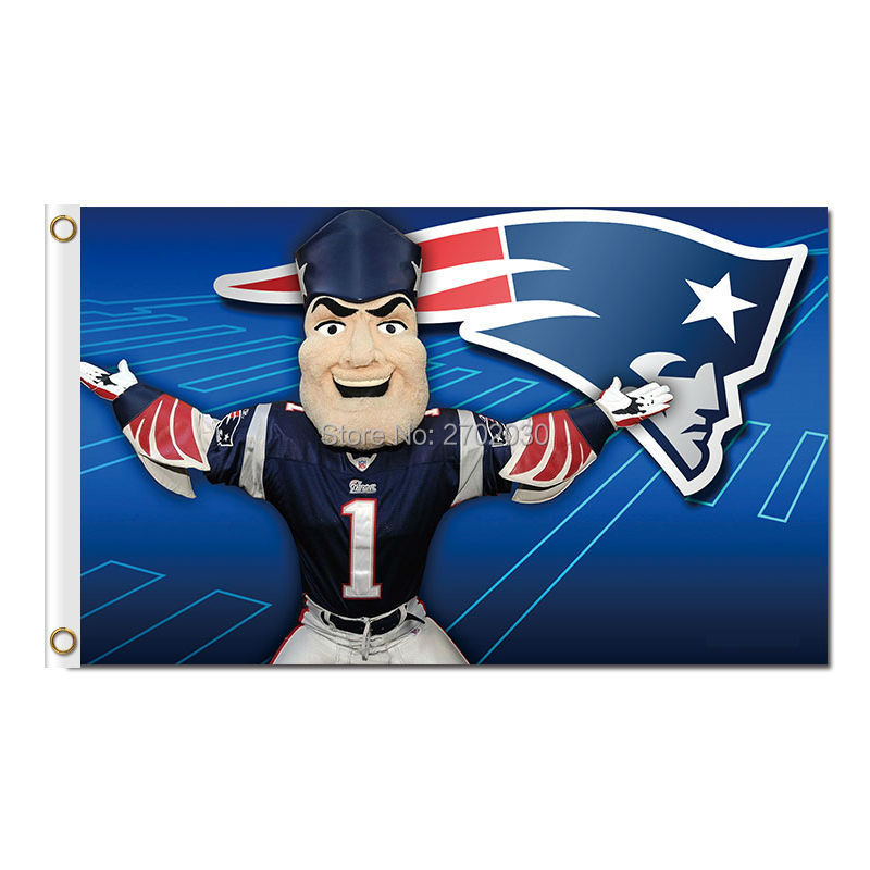 277acef2493 Cartoon New England Patriots Flag Football Banners 3ft X 5ft Banner World  Series Super Bowl Champions Flag-in Flags