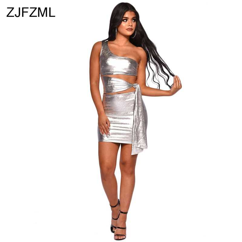 One Shoulder Sexy Package Hip Dress Women Gold Sleeveless Waist Band Cut  Out Bodycon Dress Elegant 4524441cfdcb