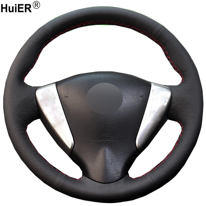 HuiER Hand Sew Car Steering Wheel Cover Breathable Black Leather For Nissan Tiida Sylphy Sentra Versa Note 2014-2017 Car Styling цена