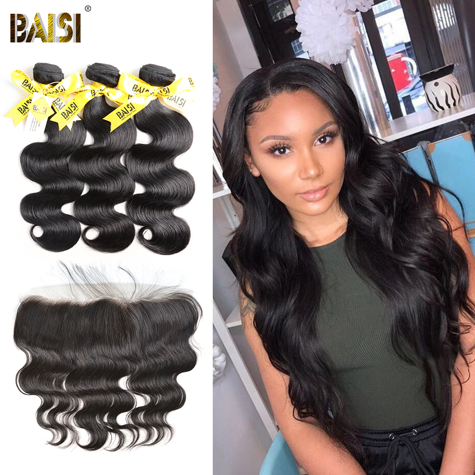 BAISI Hair 100 Unprocessed Human Hair Peruvian Virgin Body Wave Hair 3 Bundles with Frontal