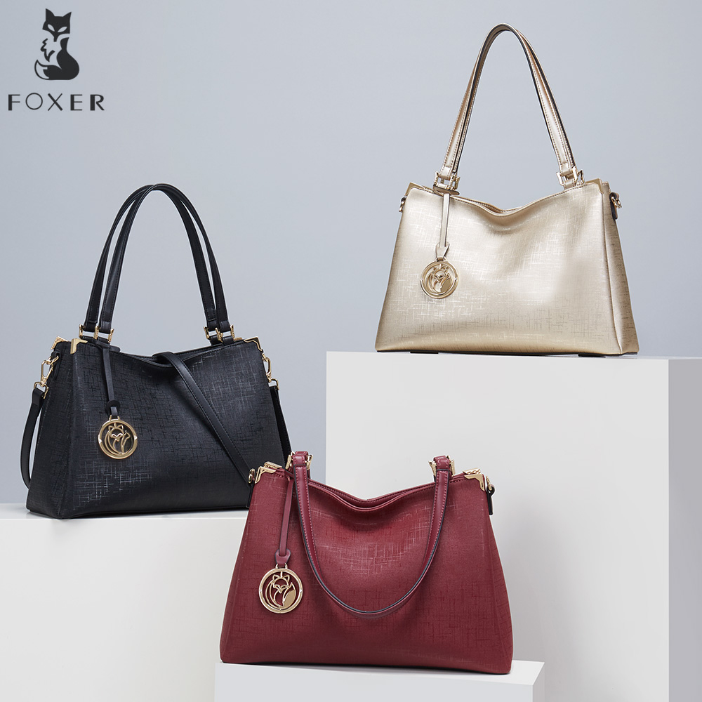 FOXER New Women Leather Shoulder Bag Ladies Handbag Luxury Crossbody Bags for Female Lady Messenger High Quality Shoulder Bag top quality 2018 new bag lady shoulder bag