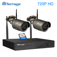 Techage 4CH WIFI CCTV System 720P 1080P Wireless NVR Kit P2P HD Indoor Outdoor IR 2pcs