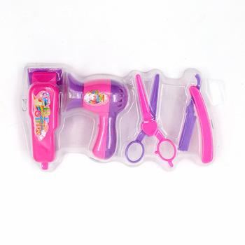 4 Pcs/set Girls Gifts Eyebrow Razor Hair Dryer Scissors For Barbies Doll Barber Tools Toys Salons Hair Care Dolls Accessories hair dryer