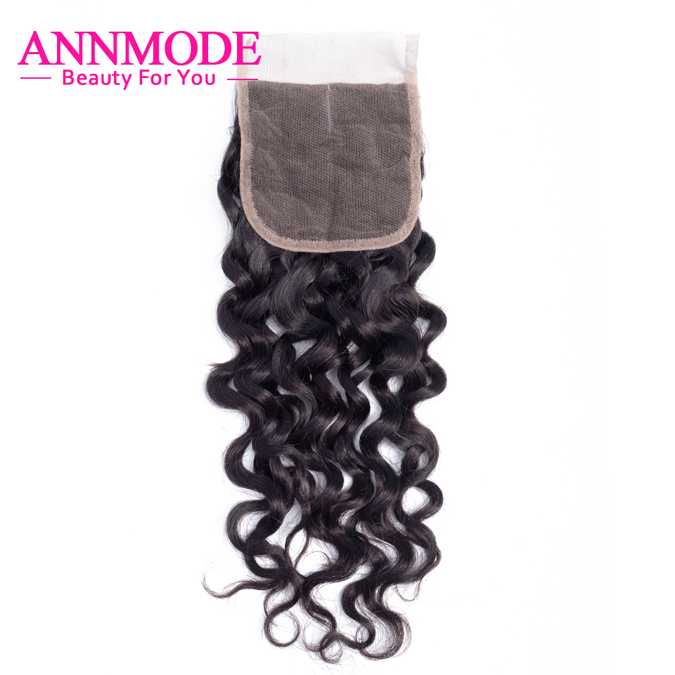 4X4 Water Wave Swiss Lace Closure 100% Human Hair Middle/Free Part Lace Closure Annmode Non Remy Hair Free Shipping