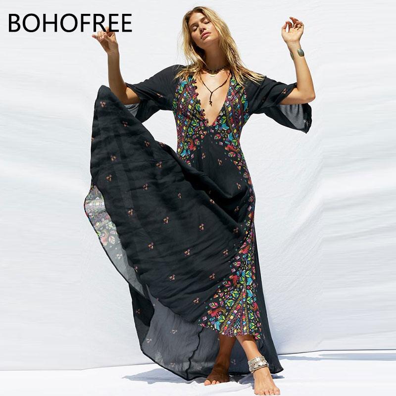 BOHOFREE HUICHOL JACINTO VESTIDO Maxi Vestido Femme V Neck Bohemian Boho Vestido Longo Vestidos Mujer Casual Vestido Longo Das Mulheres
