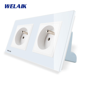 Image 2 - WELAIK Manufacturer 2Frame French Standard Power Socket Tempering Glass Panel EU Wall Socket Wall Outlet 16A AC110~250V A28F8FW