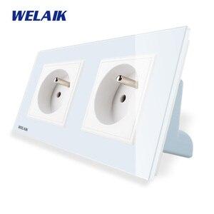 Image 2 - Welaik メーカー 2 フレームフランス語 標準電源ソケット焼戻し ガラスパネルeu壁ソケット壁アウトレット 16A AC110 〜 250v A28F8FW