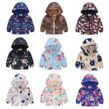 Осенние детские куртки ветровка на молнии для мальчиков и девочек водонепроницаемые толстовки с леопардовым принтом динозавра куртки для девочек 2, 3, 4, 5, 6, 7, 8 лет