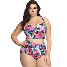 Plus Size High Waist Floral Print Wide Halter Bathing Suit oversize