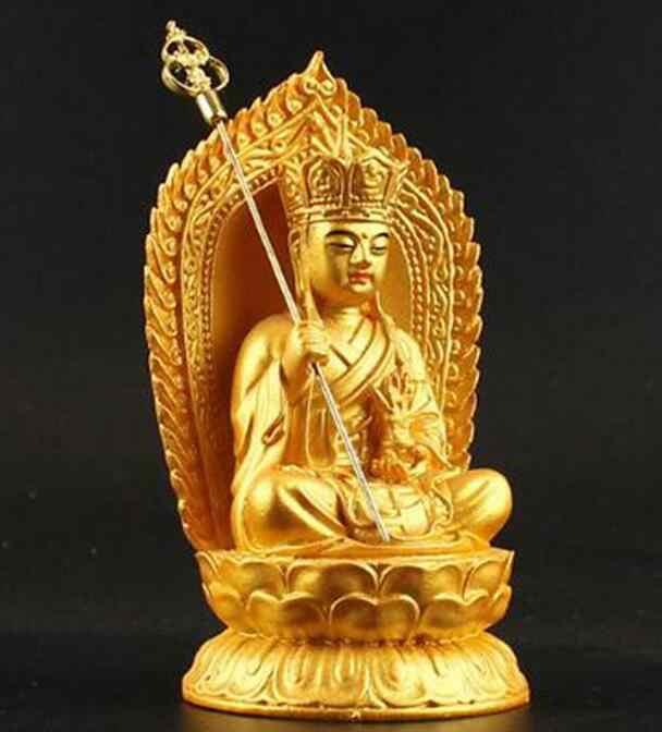 Resina chinês Budismo Tibetano Gilt Estátua Bodhisattva Kshitigarbha Estátua de Buda Orar Segurança
