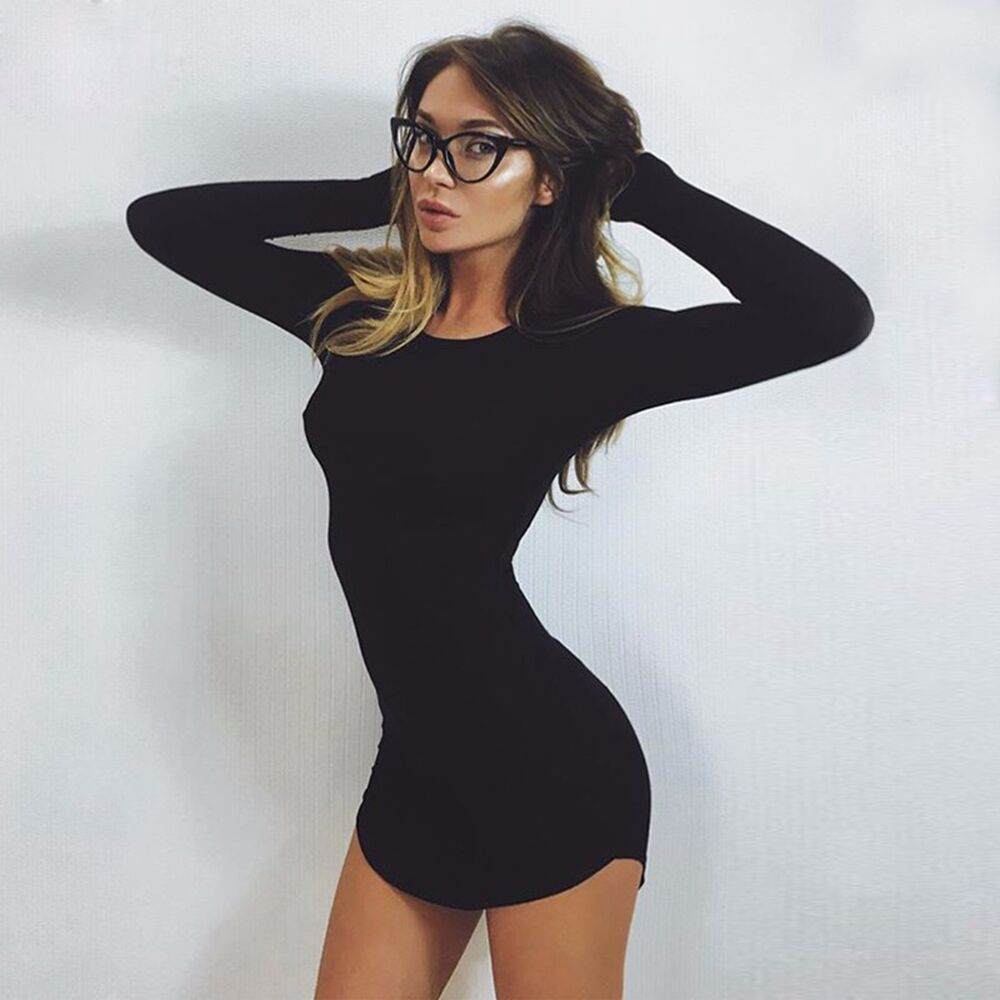 Sexy long sleeve mini dresses