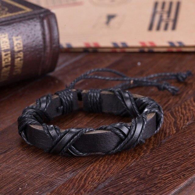 Bracelet reliure en cuir  noir/marron  5
