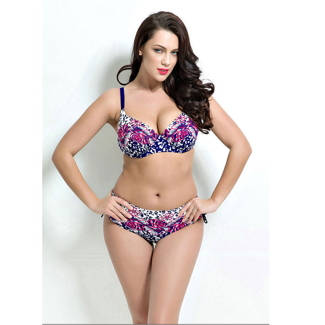 3eb85788a9 2018 new plus size print pool bikini set sexy fat ladies floral color  swimwear outdoor beach resort bikini swimwear