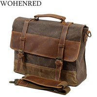 Mens Messenger Bag Waterproof Canvas Leather Men Vintage Handbags Large Satchel Shoulder Bags 15 inch Computer Laptop Briefcase