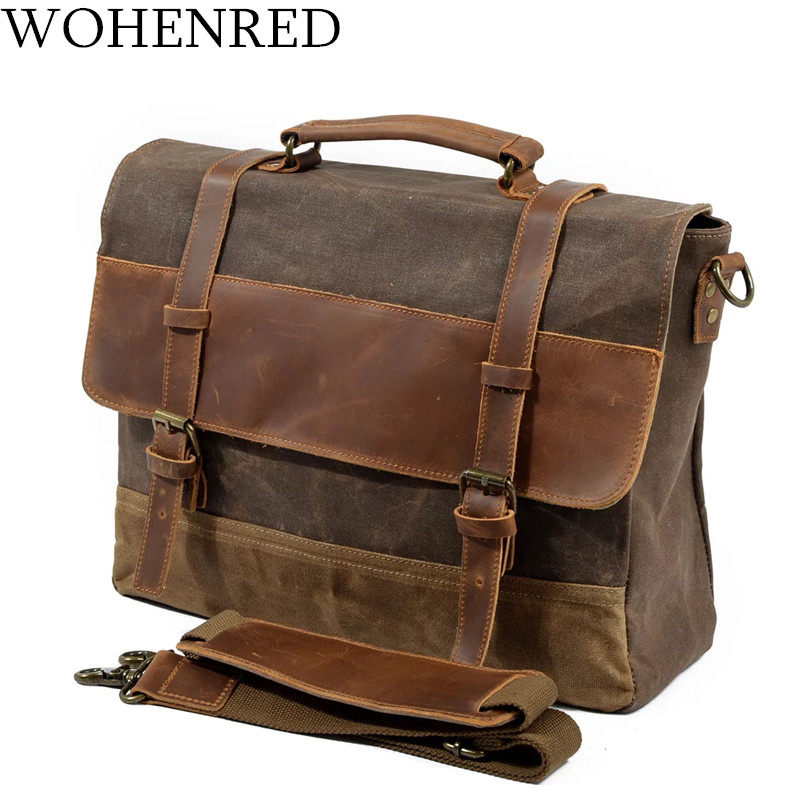 Mens Messenger Bag Waterproof Canvas Leather Men Vintage Handbags Large Satchel Shoulder Bags 15 inch Computer Laptop Briefcase|handbag large - title=