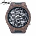 2016 new fashion luxury brand Large Dial Diamond Wood Watch Men women leather diamond quartz watch with original box