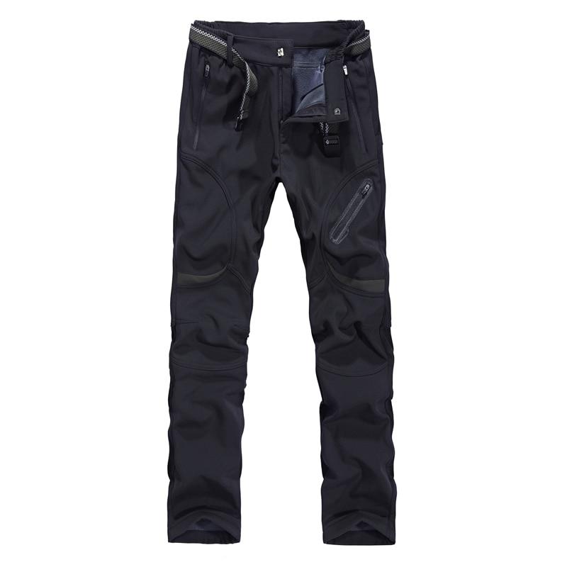 9XL Big Size Fat Men's Elastic Soft Shell Warm Pants Winter Outdoor Skiing Climbing Waterproof Fleece Lining Thermal Trousers