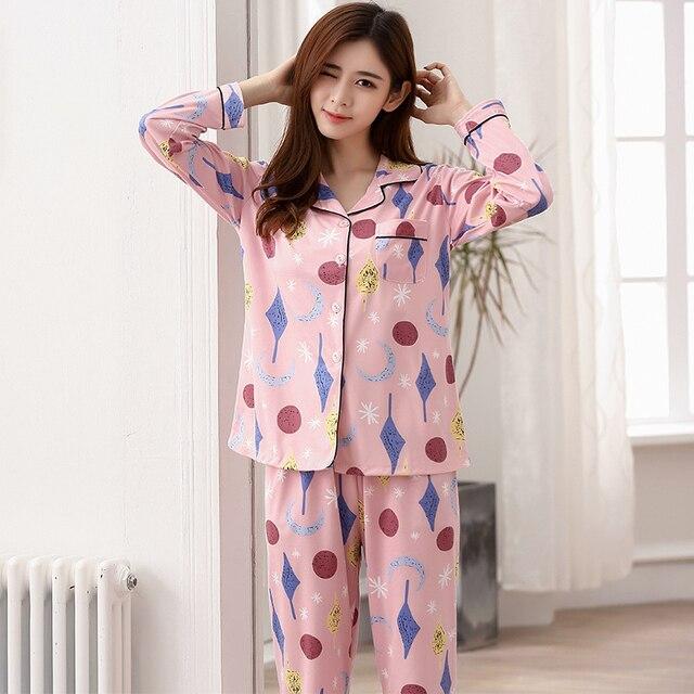 07e459acf3 Leisure WAVMIT Young Girl Pajama Sets 2018 Spring Autumn Long Sleeve Women  Sleepwear Carton Cotton Pajamas