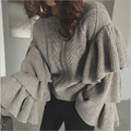 2016 Graceful Women Knitted Sweaters Autumn Winter Ruffled Layers Sleeve Ladies Woman Knitting Sweater Pullovers