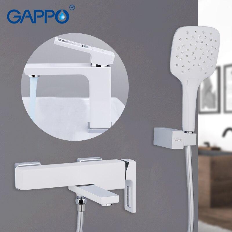 GAPPO Bathtub Faucets bathroom bathtub faucet waterfall wall mounted white water mixer taps bathtub faucet mixer waterfall hurricane in wall classic white 1 шт