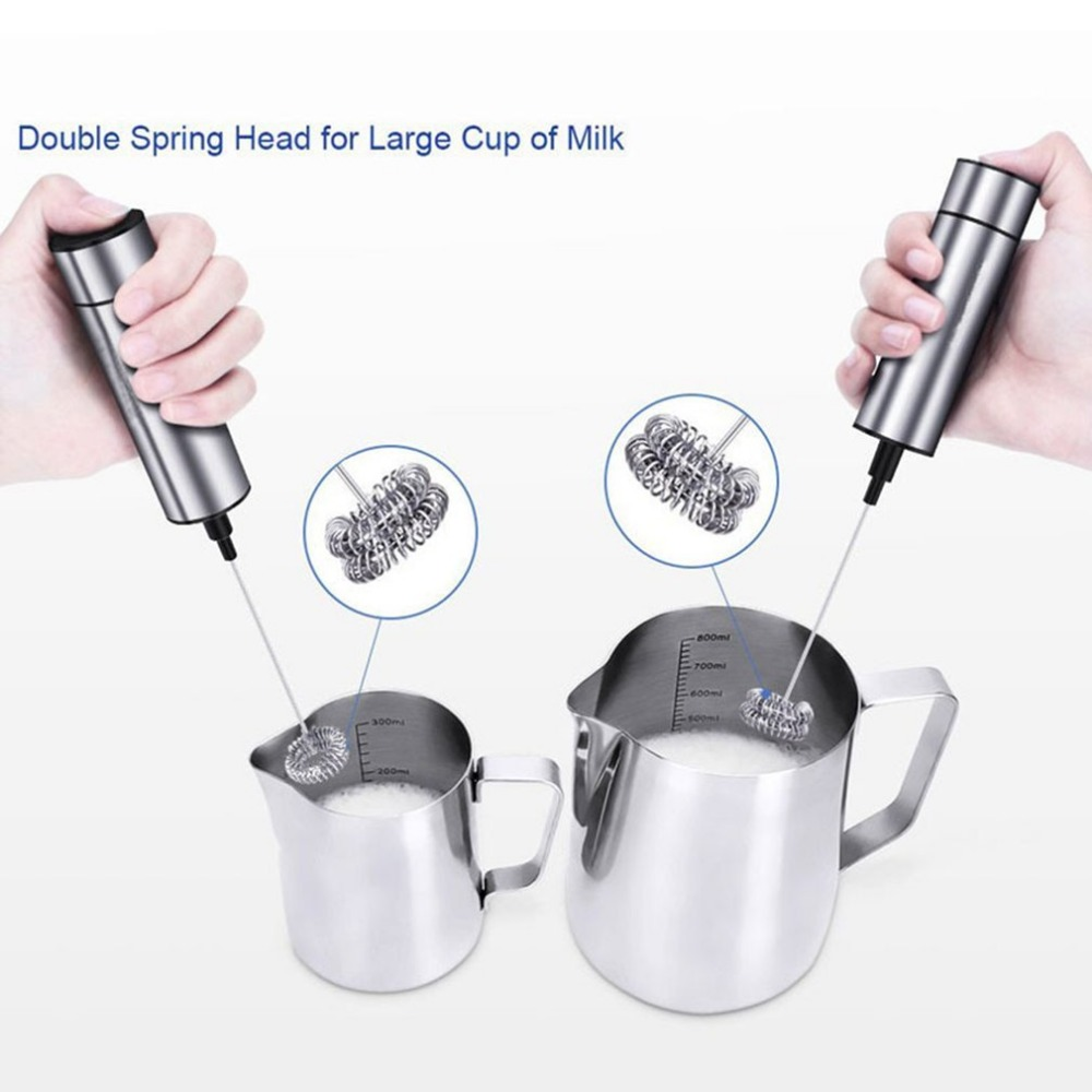 Electric Milk Frother Stainless Steel Milk Foamer Coffee Drink Mixer Double Spring Whisk Head & Brush Head Kitchen Tools
