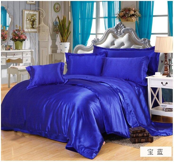 Ipek Kraliyet mavi yatak seti saten Kaliforniya Kral kraliçe tam - Ev Tekstili - Fotoğraf 2