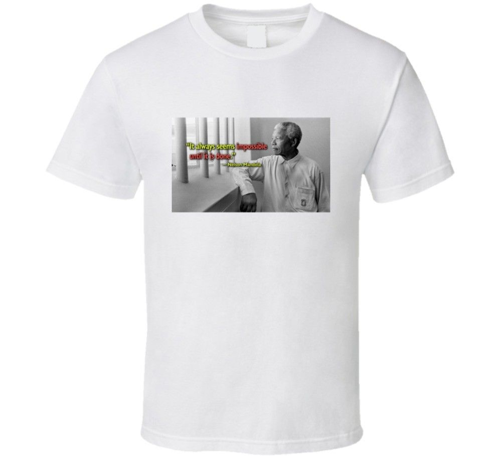 Nelson Mandela South African President Quote Apartheid Civil Rights Prison T Shi Short Sleeves Cotton Fashion T Shirt