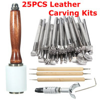 Newly 25Pcs/Set Manual Leather Craft Stamping Carved Wooden Hammer Embossing Tools Kit
