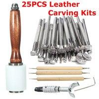 Nieuw 25 Stks/set Handleiding Lederen Craft Stempelen Gesneden Houten Hamer Embossing Gereedschap Kit Handgereedschapssets    -