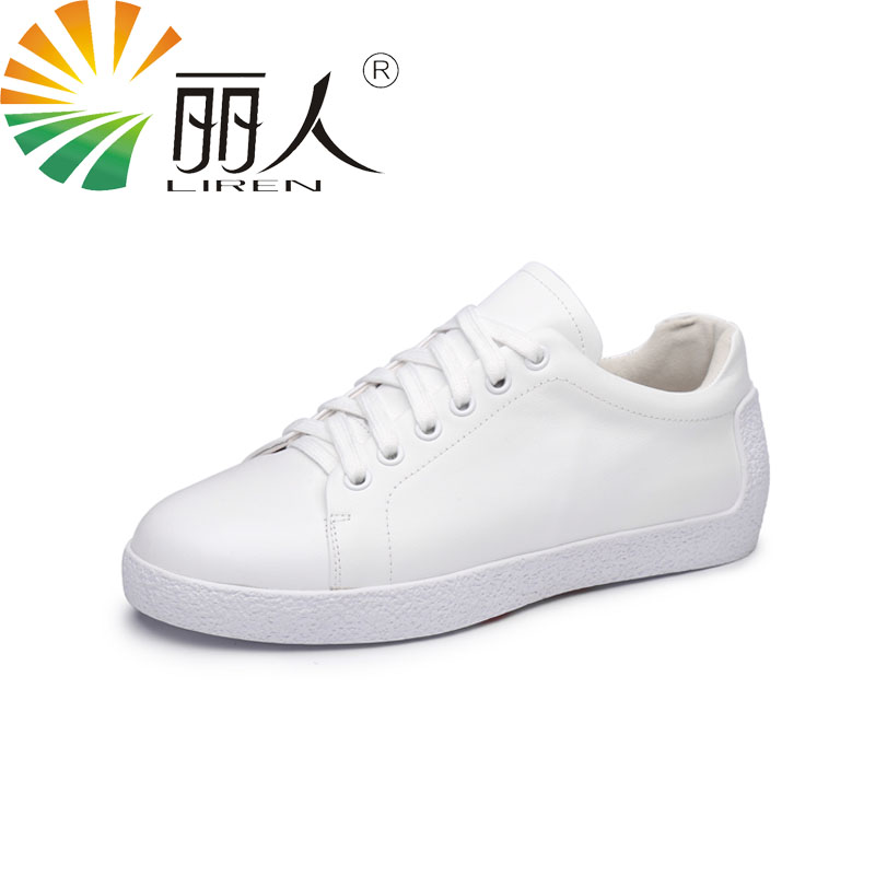 LIREN Size 34-39 Women Casual Genuine Leather Shoes Lace Up Fashion Flat Casual High-quality Solid Women Shoes Round Toe Daily high quality full grain genuine leather 5cm platforms flat shoes women 2016 black white lace up round toe fashion casual flats