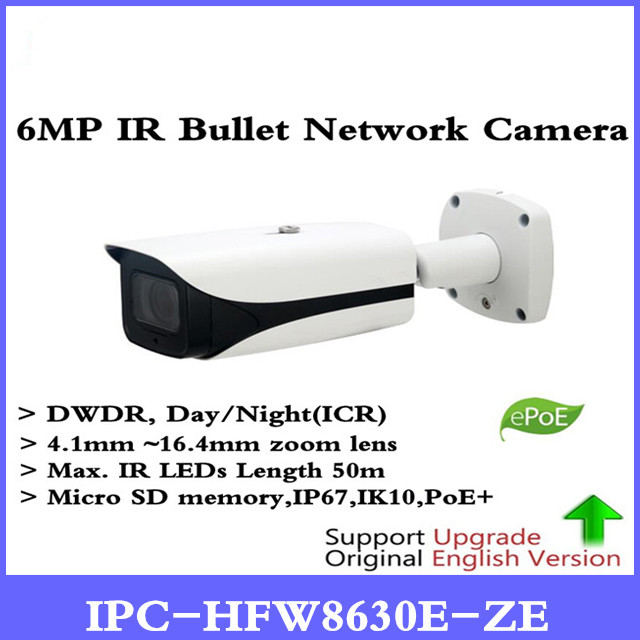 DH Security IP Camera 6MP FULL HD IR Bullet Network Camera IP67 IK10 With POE Without Logo IPC-HFW8630E-ZE Free shipp цена 2017