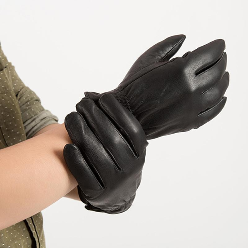 Men Leather Gloves Motorcycle Safety Protection Winter Warm Riding Sports Protective Velvet Labor Insurance