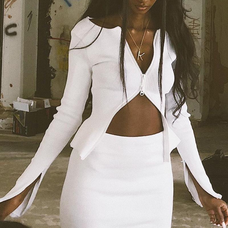 InstaHot White Black Zip Up T shirt Ribbed Knitted Long Sleeve Strech Irregular Casual Sexy Women Autumn Tops 2019 Streetwear