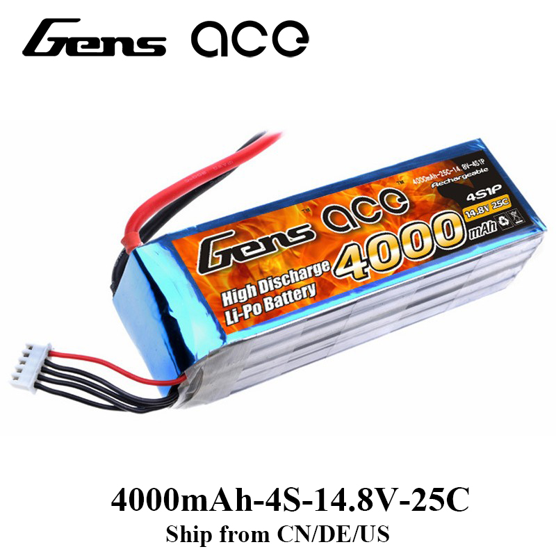 Gens ace Lipo Battery 4S 4000mAh Lipo 14.8V Battery Pack EC5 600 Size Helicopter for Octacopters Hexakopter Multirotors стоимость