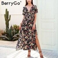 BerryGo Deep V Neck Boho Long Dress Women Elegant Split Ruffle Maxi Dress Vestidos Casual Loose