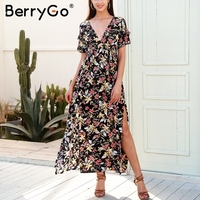 BerryGo Deep V Neck Boho Long Dress Women Elegant Split Ruffle Maxi Dress Vestidos Casual Loose