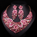 Fashion Bridal Jewelry Sets Wedding Party Accessories Gold Plated Rhinestone Necklace Earring For Brides Accessories Gift Women