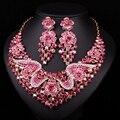 Moda Jóias Bridal Conjuntos de Acessórios Para Festa de Casamento Banhado A Ouro Strass Colar Brinco Para Noivas Acessórios Do Presente Mulheres