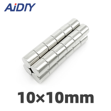 AI DIY 5Pcs 10mm x N35 Neodymium Magnet Sheet Round Super Strong Power Magnetic Permanent Rare Earth Magnets Disc10*10m