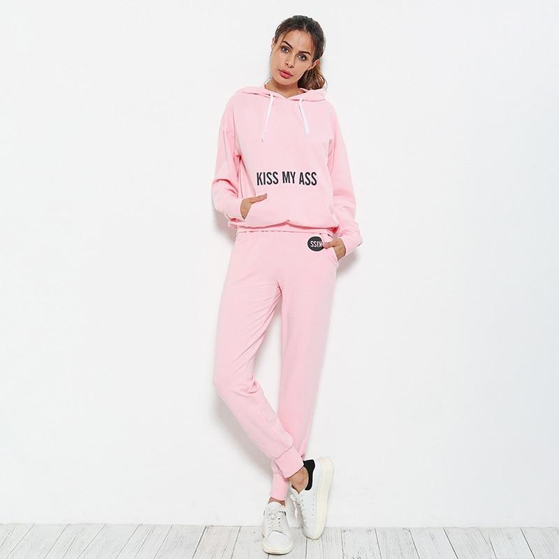 Women Tracksuits 2 Piece Set Middle sleeves  V Collar Shirt + Drawstring Sport Pants Autumn Winter Jogging Running Sportswear