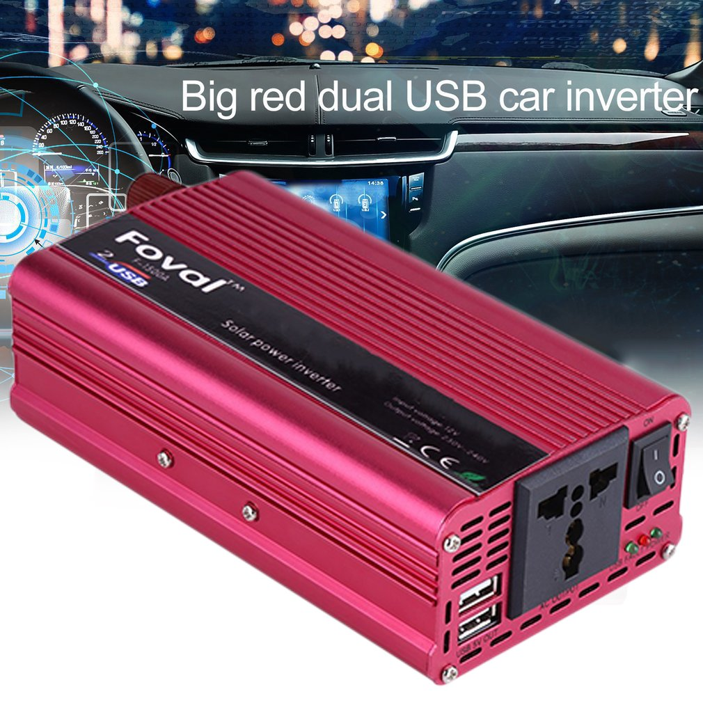 <font><b>1000W</b></font> New Car <font><b>Power</b></font> <font><b>Inverter</b></font> DC12V To AC220V Dual USB Charger Converter Transformer High Converting Efficiency Converter image