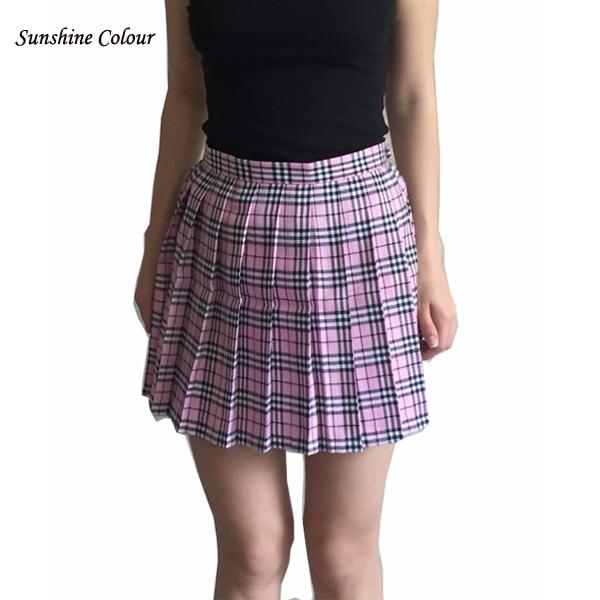 Free Shipping New 2016 Skirts Women HOT SALE Preppy Style Japanese School Uniform Plaid High Waist