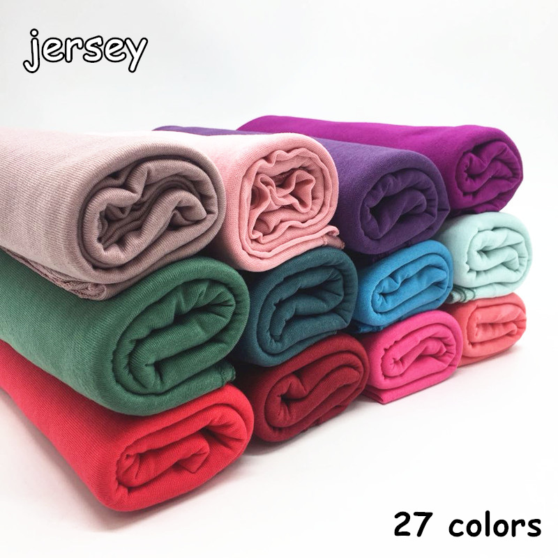 27 color High quality jersey scarf cotton plain elasticity shawls maxi hijab long muslim head wrap long scarves